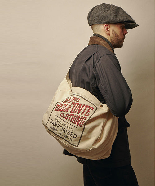 Ragtime Herringbone Newspaper Bag in Off White