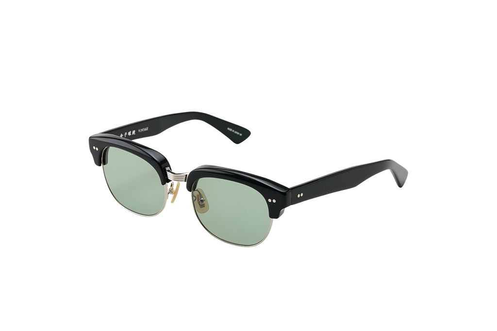 KV-75 Sunglass in Black Silver - Cellulose Acetate and Pure Titanium