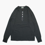 Long Sleeve Henley Neck Tee in Charcoal Grey