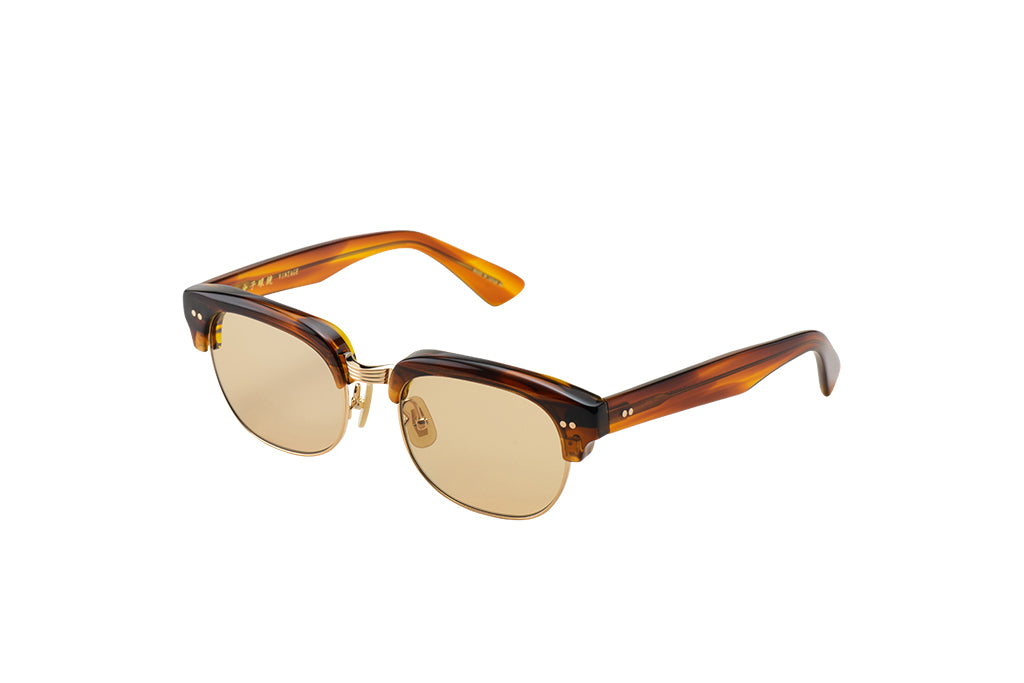 KV-75 Sunglass in Brown with Stripes - Cellulose Acetate and Pure Titanium