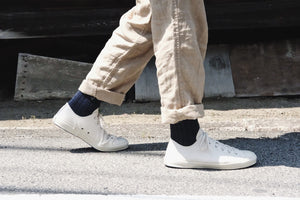 Recycled Cotton Ribbed Socks in Denim