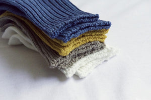 Linen Ribbed Socks in Blue