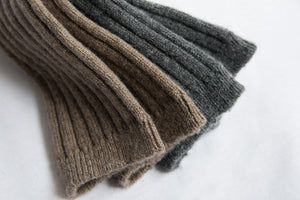 Cashmere Ribbed Socks in Charcoal