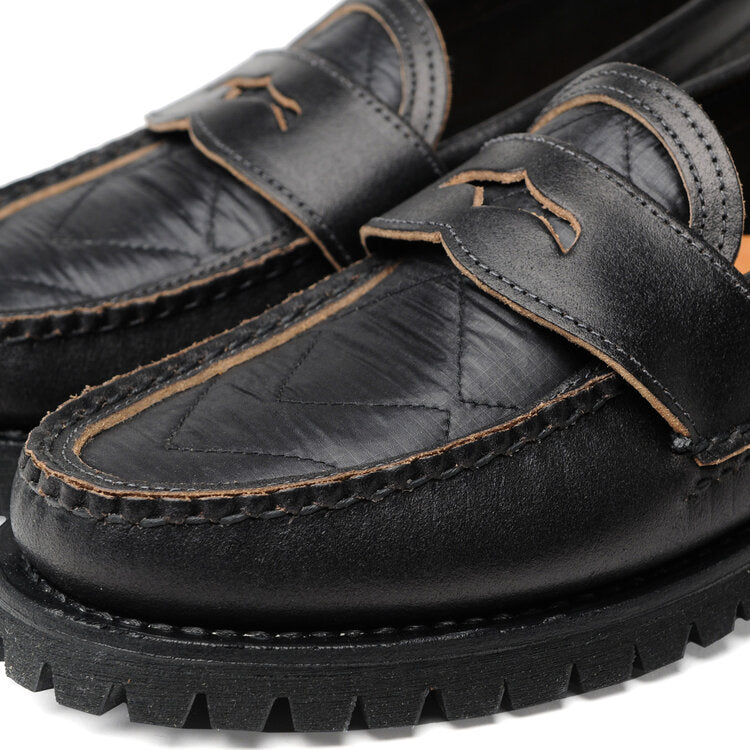 Hi-Loft Quilt Loafer with Cortina Sole in Waxed Black x Quilt Black