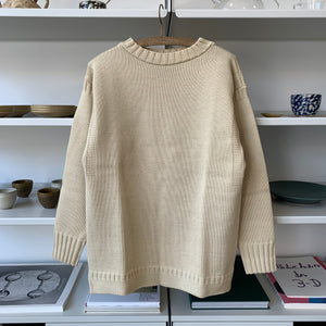 Guernsey Knit Wool Sweater in Ivory