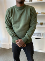Set-In Sleeve Loopwheel Sweatshirt in Olive Green