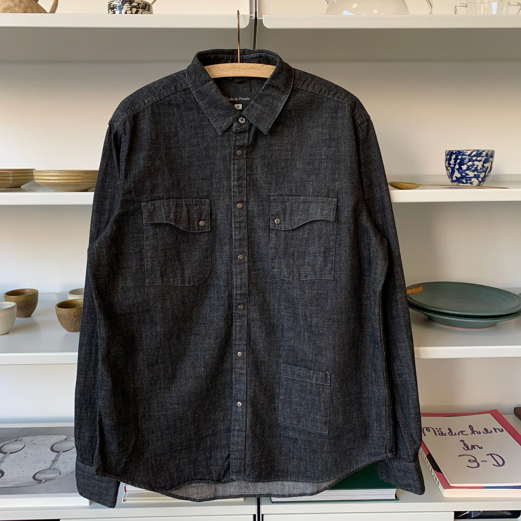 8oz Kuroki Slub Denim Shirt in Black