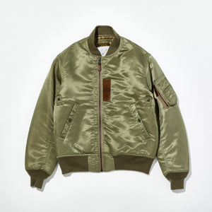 B-15B (MOD) - Thin Down Flight Jacket in Khaki Green