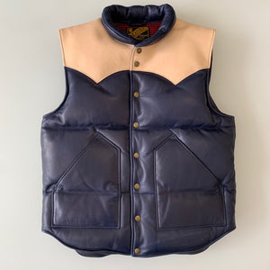 Steer Oil x Indigo Horse Hide Down Vest SV-01