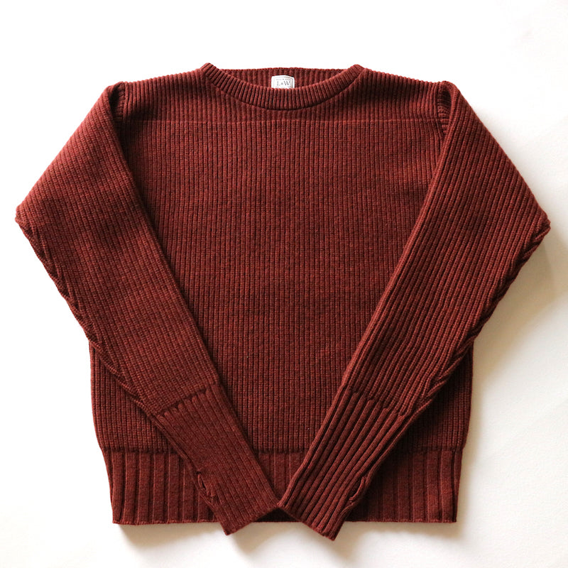 Merino Super Lamb British Classic Boatneck Sweater in Ruby Brown