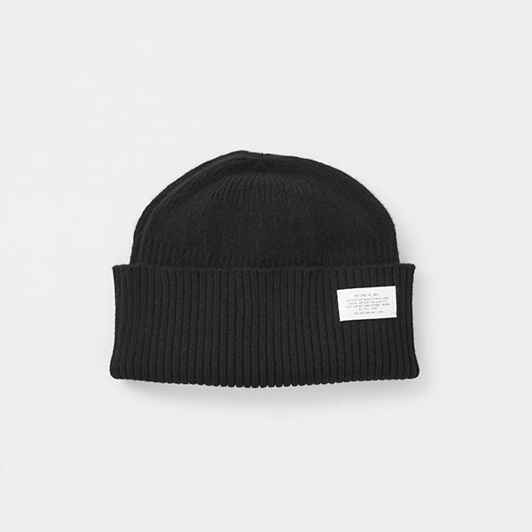 Wool Cashmere Long Rib Knit Cap in Black