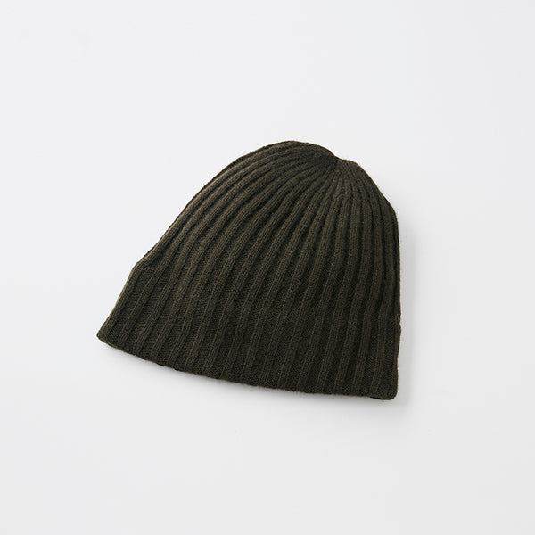 Slant Cut Knit Cap Cashmere 100 in Dark Olive