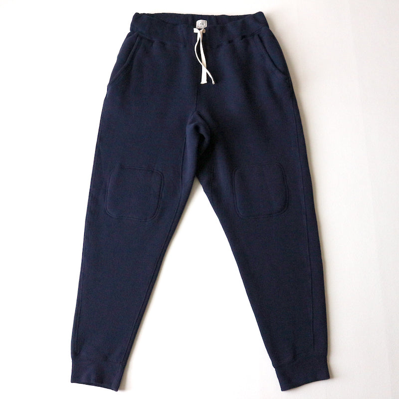 Tompins Knit Double-Knee Military Sweat Pants in Deep Navy