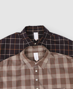 """Shiosaino"" Cotton Shirts in Brown Check"
