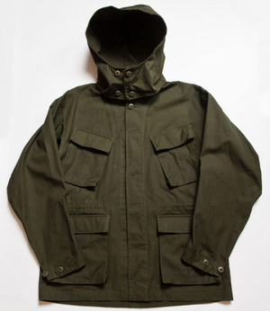 """Nowwood"" High Density Cotton Poplin Parka in Army Green - With Detachable Hood"