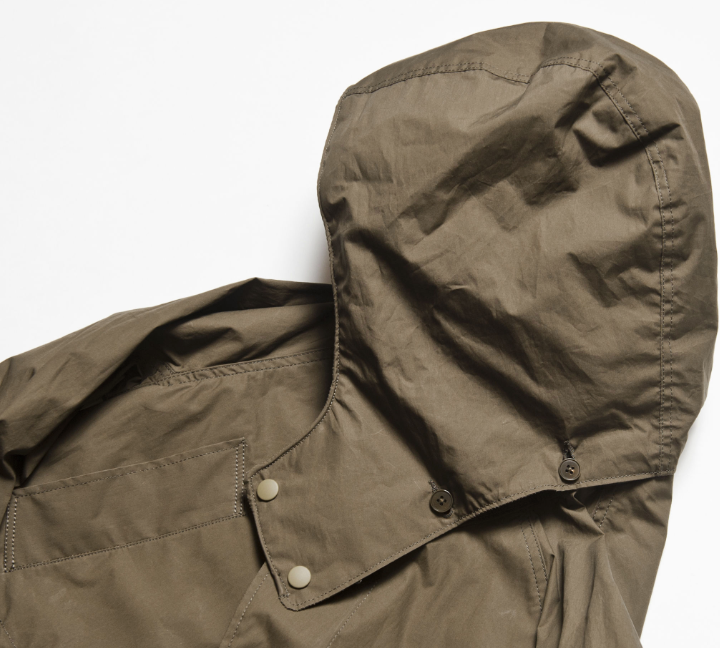 """Garden's"" Supima Typewriter Cotton Field Coat in Army Green - With Detachable Hood"