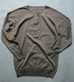 US001 Henley Neck Long Sleeve in Rustic Grey