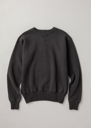 Ltd. Ed. Double-V Set-In Sleeve Tsuriami Loopwheel Mother Cotton Sweat Shirt in Ink Black