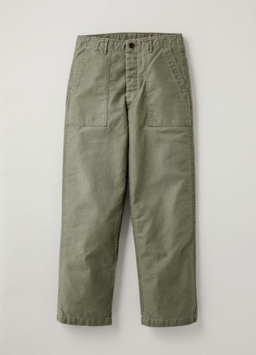 Ltd. Ed. - Vintage Hard Satin Back Utility Trousers in Olive Drab