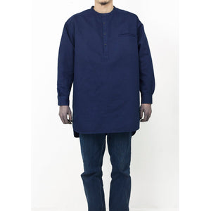 Sukumo Hand-Dyed Natural Indigo Linen Cotton Henley Neck Shirt - Dark Indigo