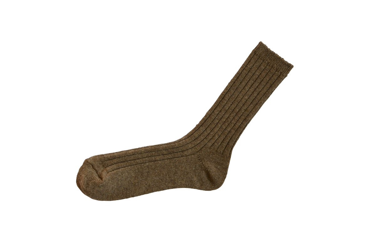 Cashmere Ribbed Socks in Amber