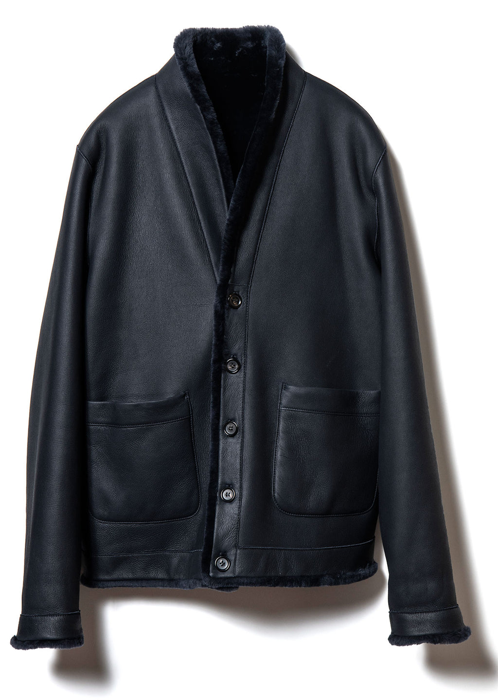 Spanish Merino Reversible Jacket in Dark Navy (CM-08)