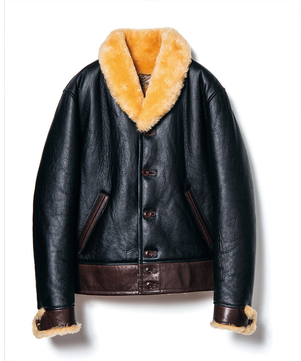 Colomer Mouton Cossack Jacket in Black x Dark Brown (CM-143)