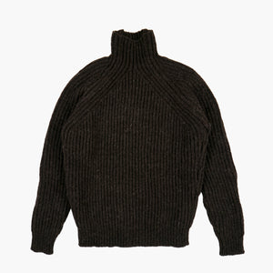 English Rib Mock-Neck Sweater in Chocolate