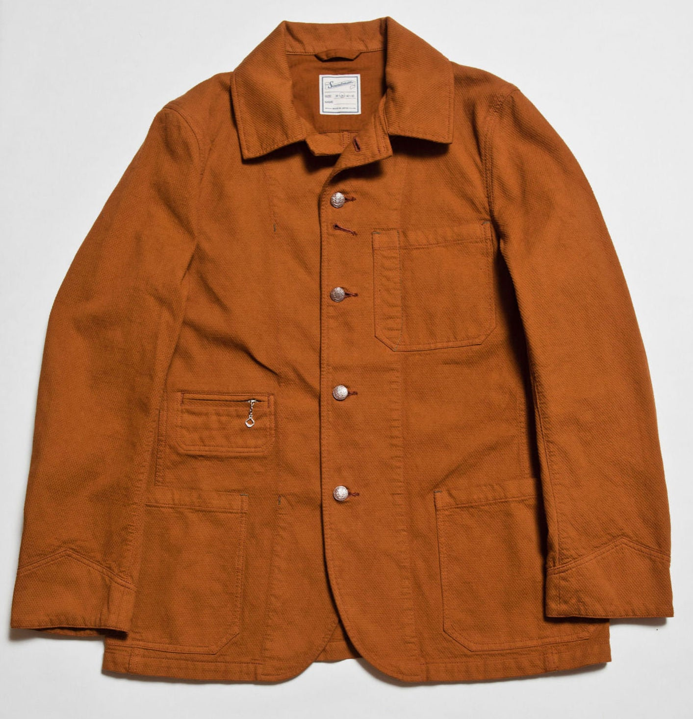 """Birmingham"" Sashiko Coverall Jacket in Brick Overdye"
