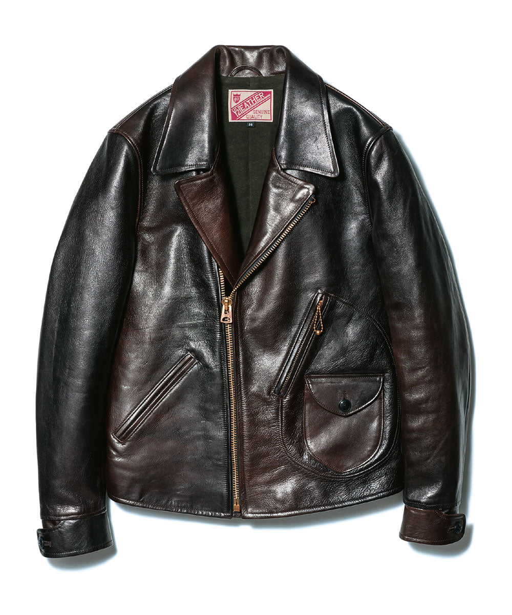 Vegetable Tanned Hand-Dyed Horsehide D-Pocket Double Riders Jacket in Black (HR-56)