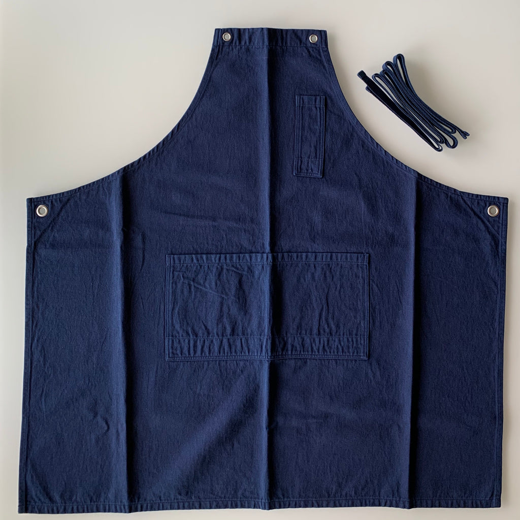 Apron - Cotton Hemp Twill - Dark Indigo - Sukumo Natural Indigo Hand-Dyed