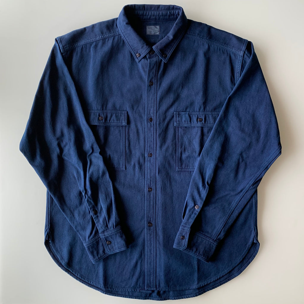 Work Shirt - Indigo - 2x2 Cotton Twill Weave - Sukumo Natural Indigo Hand-Dyed