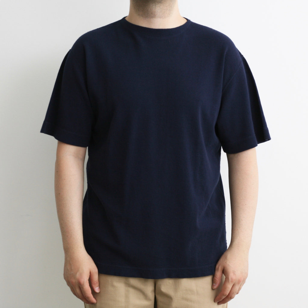Military Rib Knit Short-Sleeve Boatneck in Deep Navy