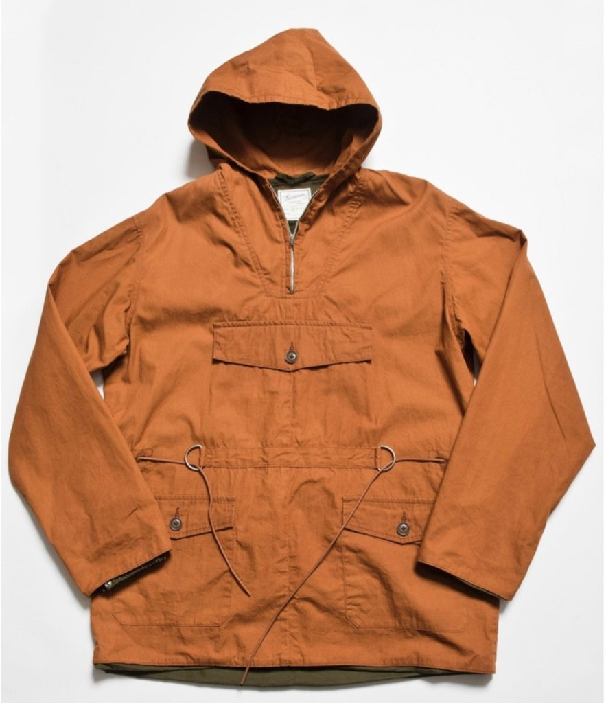 """Brush"" High Density Water-Repellant Cotton Poplin Anorak Parka in Brick"