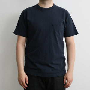 Addict Clothes Vintage Motorcycles - Slanted Pocket Logo Tee in Navy x White