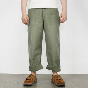 Ltd. Ed. - Vintage Satin Utility Trousers in Olive Drab