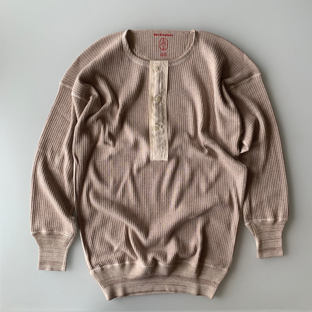 US001 Swedish Army Rib Henley Neck Long Sleeve in Mottled Light Plum