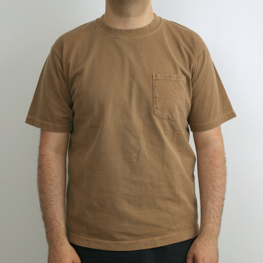 C.T.L. Saburoku Loopwheel Pocket T-Shirt - Coffee Dyed