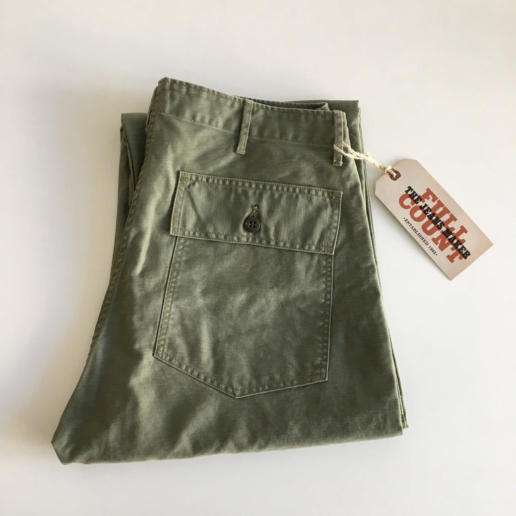 Vintage Satin Utility Trousers in Olive Drab