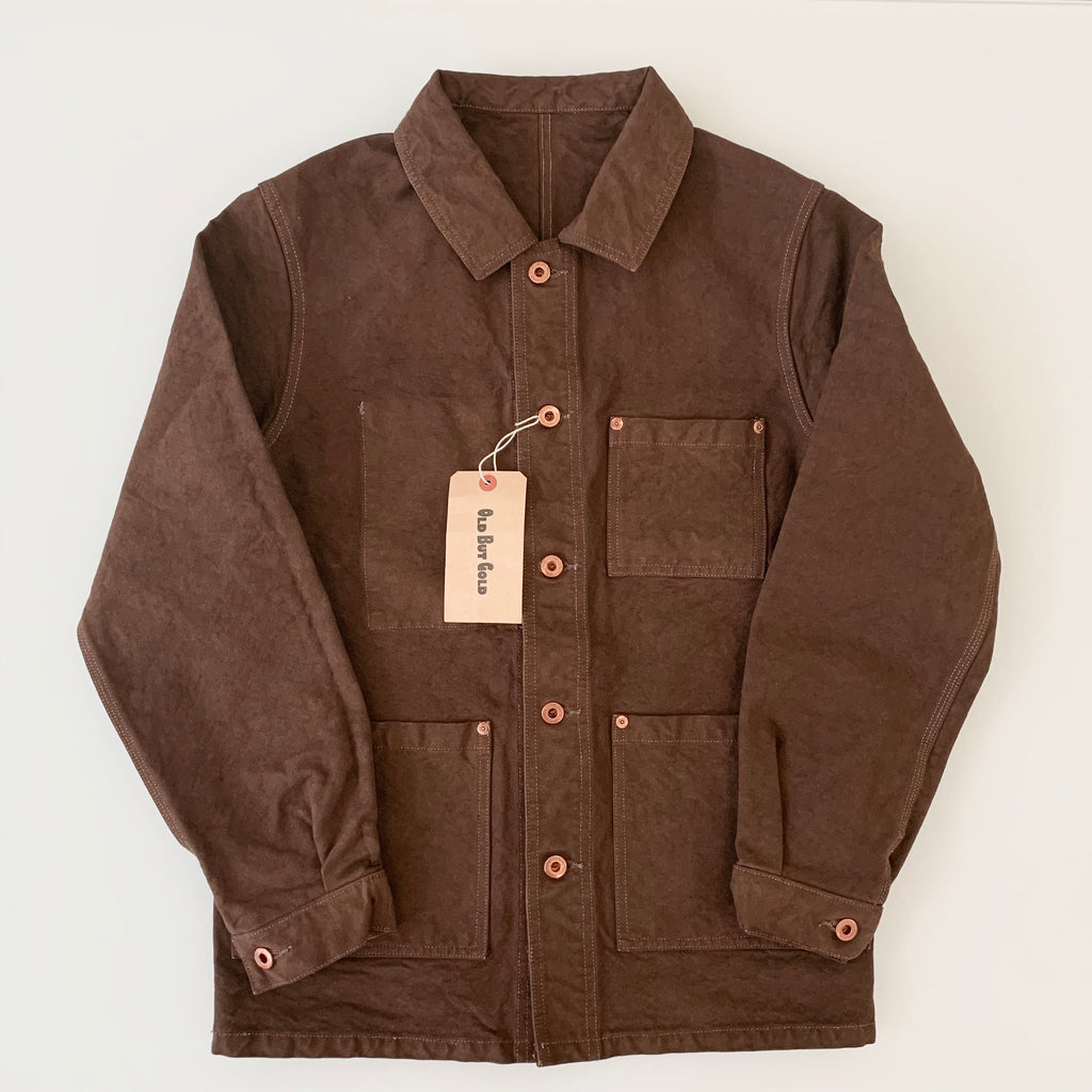 Kurashiki Hampu Duck-Canvas French Work Jacket in Brown