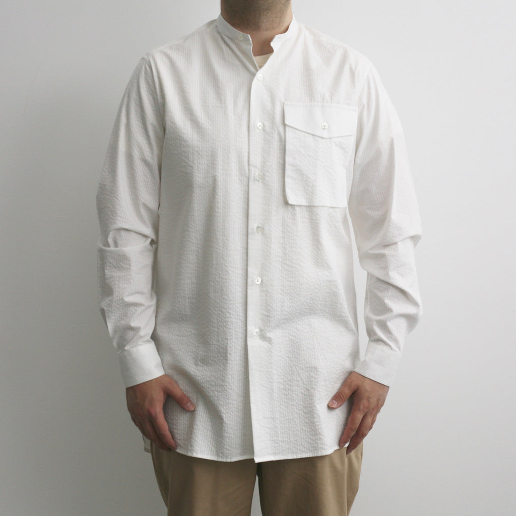 Band Collar Seersucker Shirt In Pure White