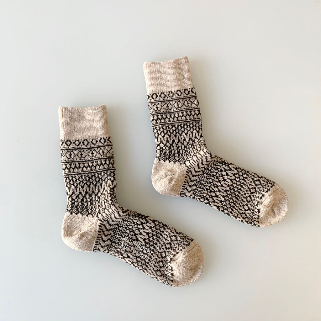 Wool Jacquard Socks in Oatmeal
