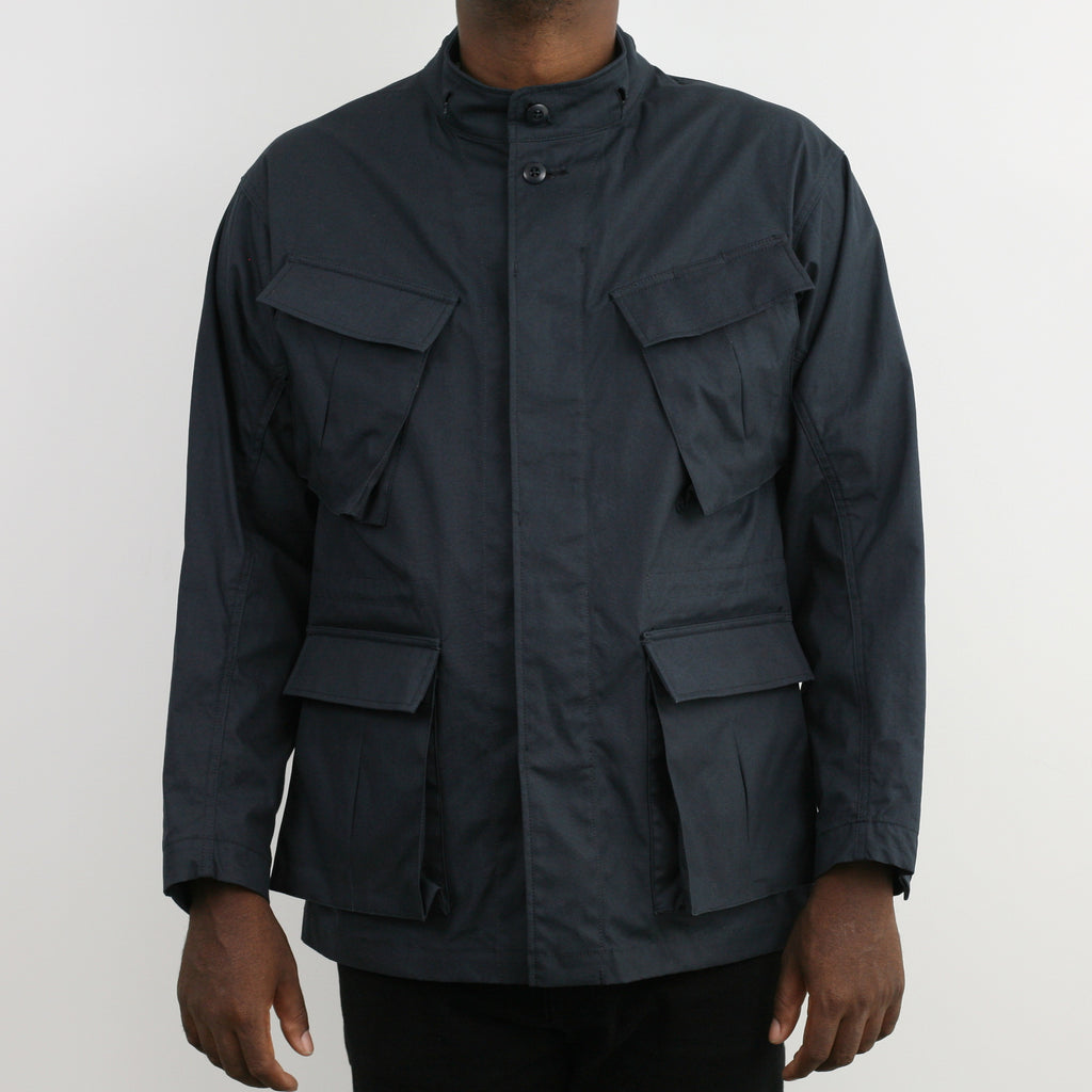 """Nowwood"" High Density Water-Repellant Cotton Poplin Parka in Navy - With Detachable Hood"