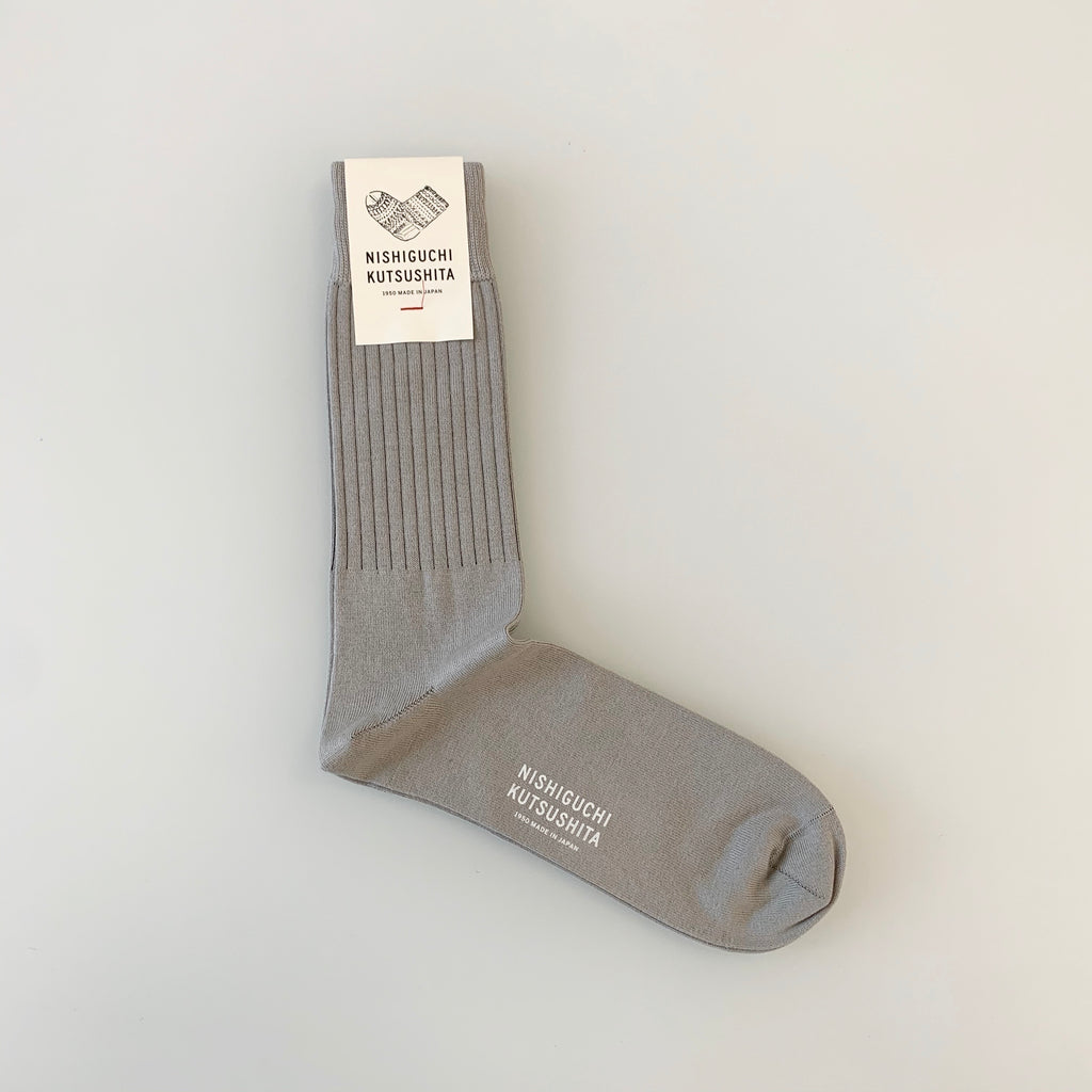 Egyptian Cotton Striped Socks in L Grey