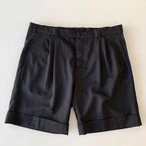 Pleated Wool Shorts in Deep Black