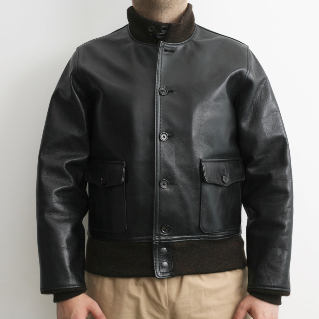 Limited - A-1 Flight Jacket in Black Tea Core Aniline Horsehide (A-1)