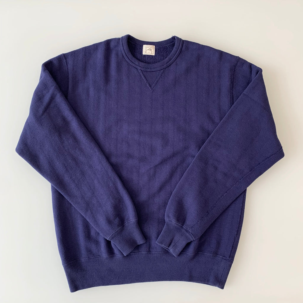 Vintage Jacquard Knit V-Gusset Sweatshirt in French Navy Blue