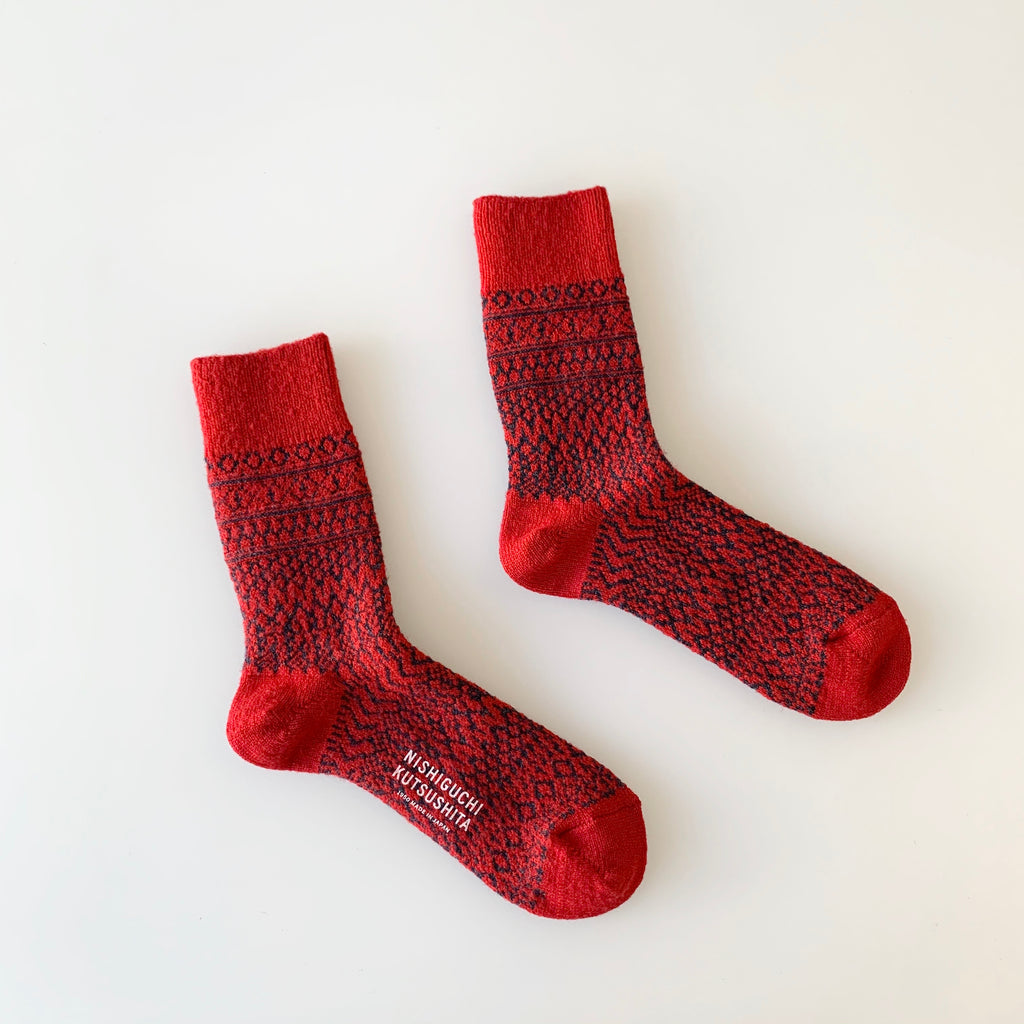 Wool Jacquard Socks in Red