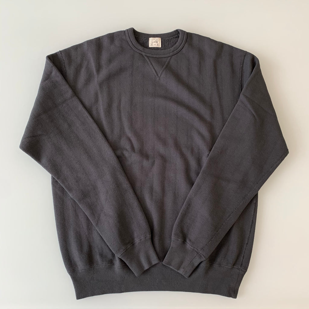 Vintage Jacquard Knit V-Gusset Sweatshirt in Antique Black