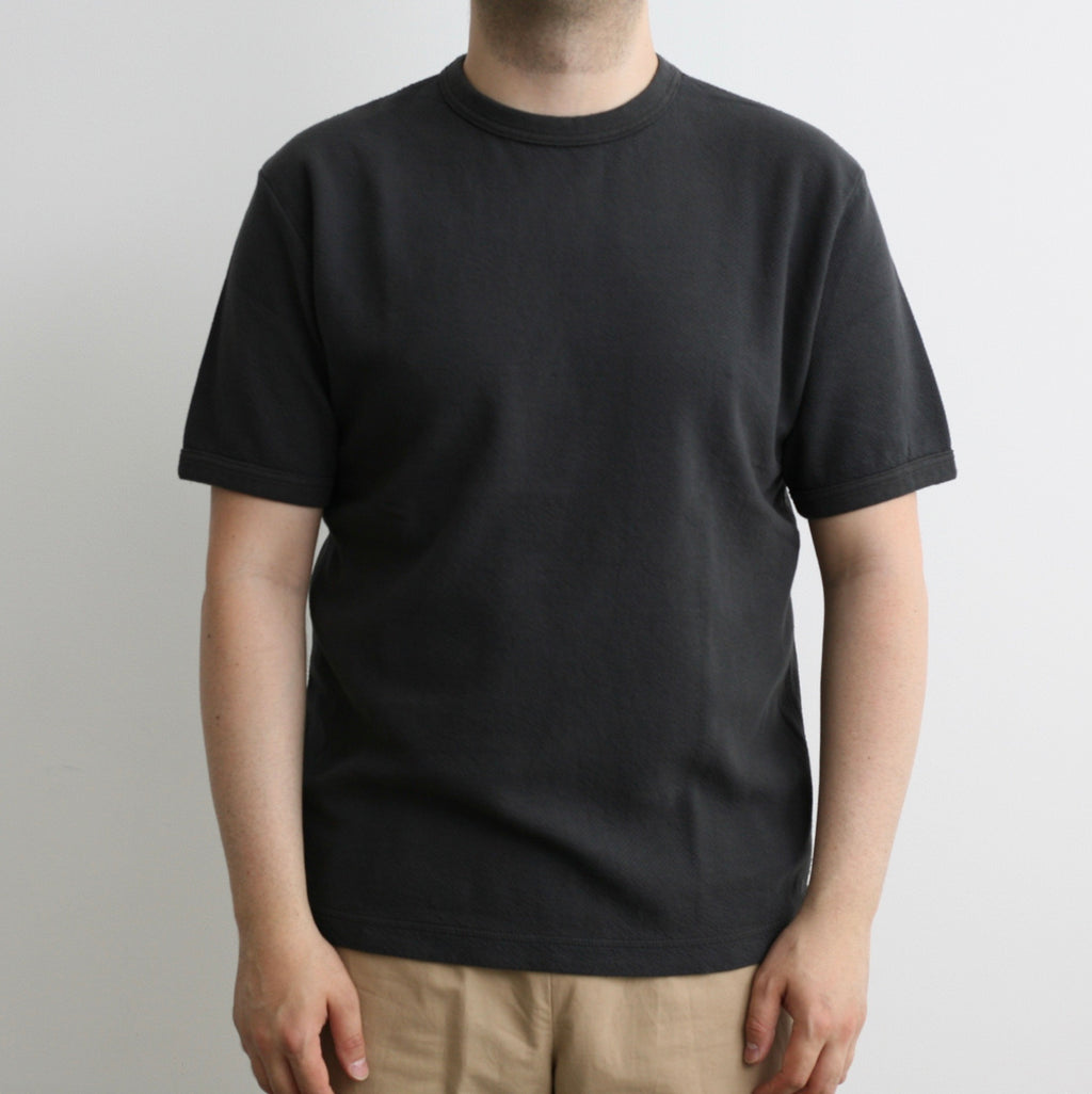 Twill Face Knit Military Crewneck in Antique Black